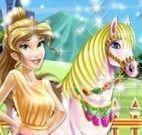 Princesa Bela cuidar do cavalo
