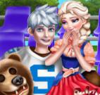 Anna e Elsa estudantes na torcida