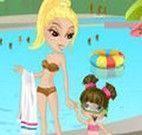 Vestir mãe e filha para brincar no parque aquático