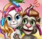 Gato Angela e Tom no cabeleireiro