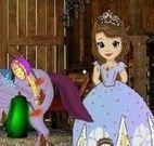 Princesa Sofia cuidar do cavalo