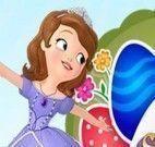 Princesa Sofia decorar ovos de Páscoa