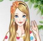 Roupas e maquiagem colorida