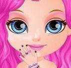 Bebê Barbie unhas com glitter