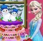 Elsa decorar bolo de natal
