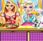 Rapunzel e Elsa cozinhar peixe