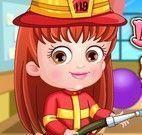 Bebê Hazel roupas de bombeiros