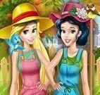 Rapunzel e Branca de Neve roupas de jardineira