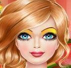 Garota maquiagem de natal