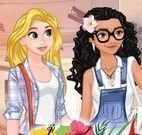 Moana e Rapunzel roupas da escola
