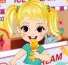 Roupas de menina na sorveteria