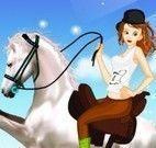 Roupas da menina  no cavalo