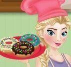 Elsa cozinhar donuts