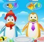 Servir pinguins no restaurante