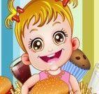 Bebê vender hamburguer