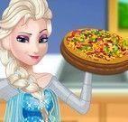 Preparar pizza com Elsa grávida