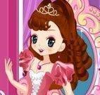 Vestir e maquiar pequena princesa