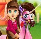 Super Barbie bebê cuidar do pônei