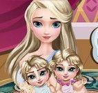 Elsa cuidar dos filhos gêmeos