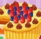Vovó decorar bolo de frutas