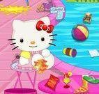 Limpar piscina da Hello Kitty