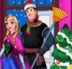 Anna e Kristoff limpar casa de Natal