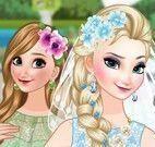 Noiva Elsa e madrinha Anna vestir