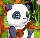 Urso panda na banheira