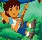 Diego na floresta com chuva