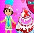 Dora decorar bolo para namorado