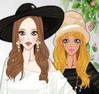 Maquiagem e roupas da menina de chapéu