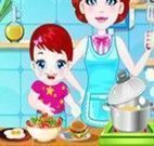 Cozinhar hambúrguer com bebê