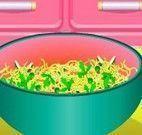 Fazer macarrão com ovos e vegetais