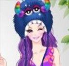 Vestir a garota de fantasia de monstrinha