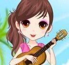 Roupas de meninas tocando violão