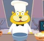 Fazer torta de maçã com o gato cozinheiro