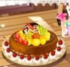 Torta de frutas com chocolate